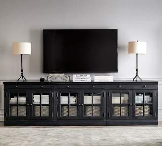 "Pottery Barn Livingston 105"" Media Console, Dusty Charcoal"