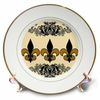 BEIGE 3dRose Fleur De Lis. French decor. and black. - Porcelain Plate, 8-inch