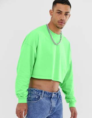 Asos Design DESIGN oversized cropped long sleeve t-shirt in washed neon green