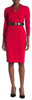 Modern American Designer Notch Collar 3/4 Sleeve Sheath Dress