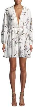 Zimmermann Corsage Floral Plisse Long-Sleeve Mini Dress