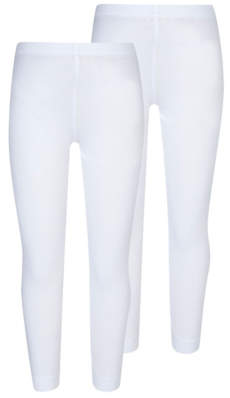 George Girls White School Leggings 2 Pack