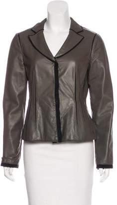 Armani Collezioni Leather Notch-Lapel Jacket