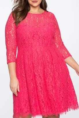 ELOQUII 3\u002F4 Sleeve Lace Fit & Flare Dress (Plus Size)