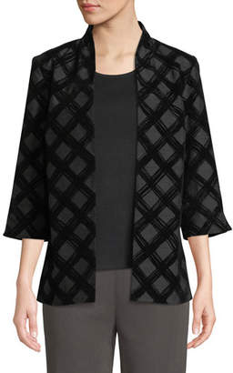 Misook 3/4-Sleeve Flocked Velvet Jacket