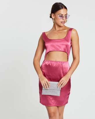 Missguided Satin Cut-Out Mini Dress