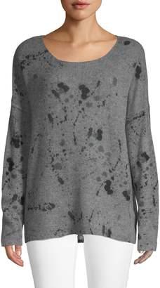 360 Cashmere Splatter Skull-Print Cashmere Sweater