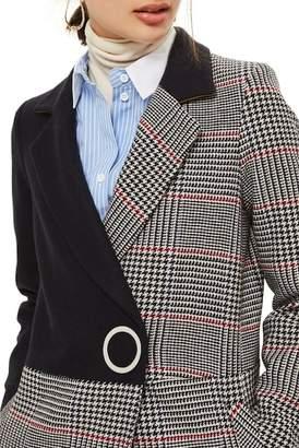 Topshop Colorblock Check Wool Blend Coat