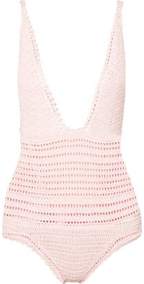 She Made Me Lalita Crocheted Cotton Swimsuit - Pastel pink