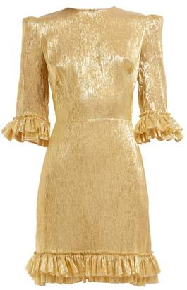 The Vampire's Wife Mini Festival Ruffle Trimmed Silk Blend Dress - Womens - Gold