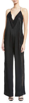 Jonathan Simkhai Lingerie Sateen Jumpsuit with Lace Trim