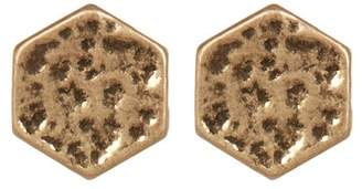 Melrose and Market Hammered Hexagon Stud Earrings