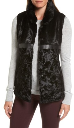 Women's Via Spiga Reversible Faux Fur & Faux Leather Vest $150 thestylecure.com