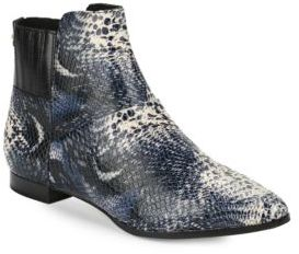 Calvin Klein Eunice Snakeskin-Embossed Leather Ankle Boots