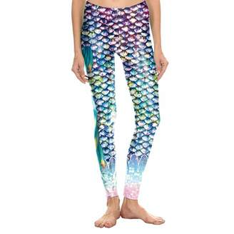 e2cf95759b591 FEOYA Women's Popular Leggings Metallic Fish Leggings Printed Scale Tights  Fun Shiny Pant Costume Snake Skin