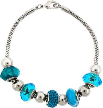 SPARKLE ALLURE Dazzling Designs Silver-Plated Aqua Glass Bead Bracelet