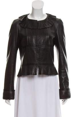 Chanel Leather Pleated Jacket