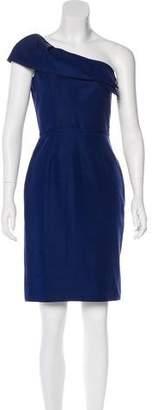 Lela Rose One-Shoulder Silk Dress