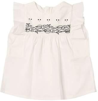 Chloé Cotton Poplin Shirt W/ Ruffles