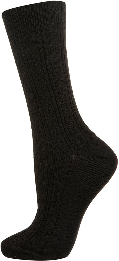 Black Cable Ankle Socks