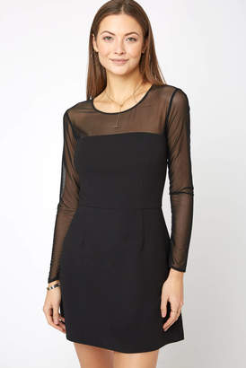 French Connection Whisper Light Mesh Sleeve Bodycon Dress
