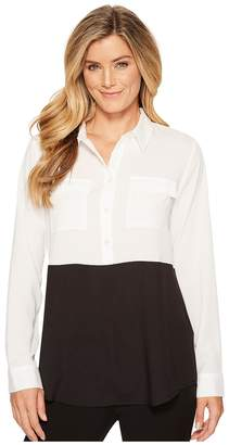 Calvin Klein Color Block Button Down Tunic Women's Blouse