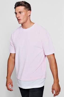 boohoo Drop Shoulder Extended Hem Velour T-Shirt