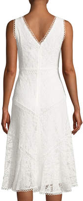 Neiman Marcus Lace Sheath Dress with High-and-Low-Hem