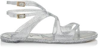 Jimmy Choo LANCE JELLY Silver Glitter Rubber Jelly Sandals