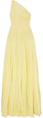 Alexander McQueen One-shoulder Plissé Silk-chiffon Gown - Pastel yellow