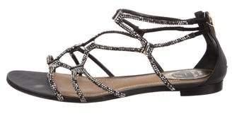 Rene Caovilla Strass-Embellished Satin Sandals