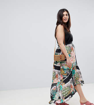 829c3d9ec43 Asos Maxi Skirt with High Low Hem in Postcard Print