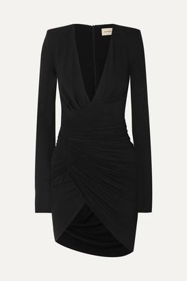 Alexandre Vauthier Ruched Draped Stretch-jersey Mini Dress - Black