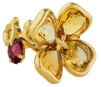 Chanel Camellia Citrine & Garnet Flower Ring