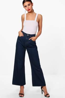 boohoo Petite Cropped Wide Leg Jeans