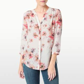 NYDJ Amalfi Floral Printed Sleeveless Pintuck Pleatback Blouse In Petite