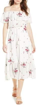 Lost + Wander Senorita Embroidered Off the Shoulder Midi Dress