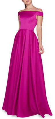 Mac Duggal Ieena for Off-the-Shoulder Short-Sleeve A-Line Mikado Gown