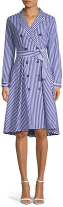 Marella High-Low Striped Belted Fit--Flare Dress