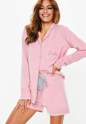 Missguided Barbie X Pink Jersey Long Sleeve Pyjama Set