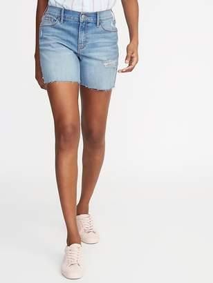 "Old Navy Slim Distressed Denim Midi Shorts for Women (5"")"