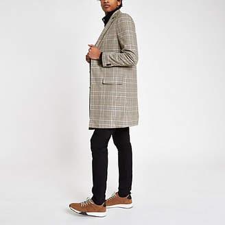 River Island Mens Grey check overcoat