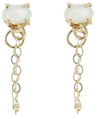 Melissa Joy Manning White Opal and Chain Earrings