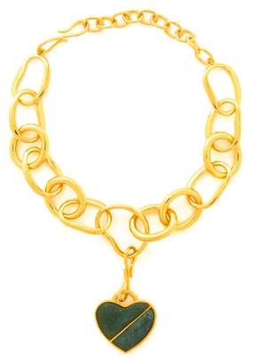 Lizzie Fortunato Porto Heart Gold Plated Necklace - Womens - Green