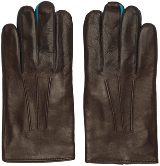 Paul Smith Brown Leather Concertina Gloves