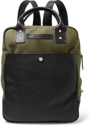 Oliver Spencer Full-Grain Leather And Cotton-Canvas Backpack