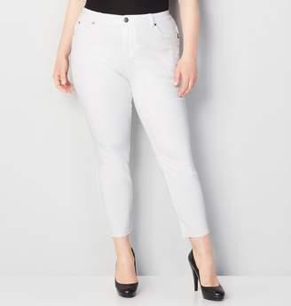 Avenue Frayed Body Sculpting Denim Ankle Jean in White