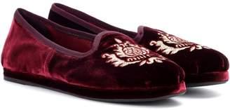 Miu Miu Embroidered velvet loafers