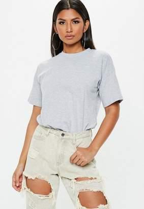 Missguided Gray Marl Raw Hem Crew Neck T Shirt