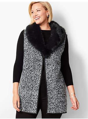 Talbots Plus Size Fur-Trim Boucle Vest